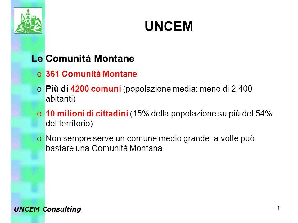 1 Le Comunità Montane o361 Comunità Montane oPiù di 4200 comuni (popolazione media: meno di 2.400 abitanti) o10 milioni di cittadini (15% della popola