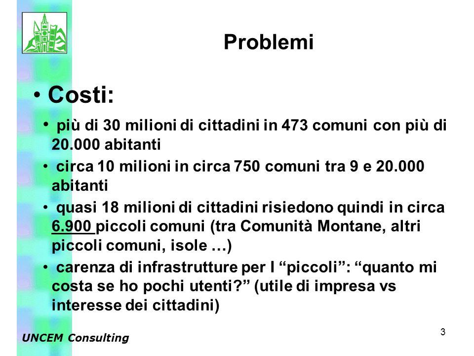 3 Costi: più di 30 milioni di cittadini in 473 comuni con più di 20.000 abitanti circa 10 milioni in circa 750 comuni tra 9 e 20.000 abitanti quasi 18