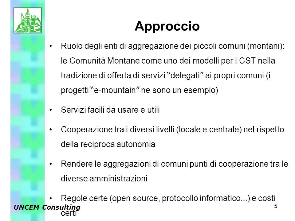 5 Ruolo degli enti di aggregazione dei piccoli comuni (montani): le Comunit à Montane come uno dei modelli per i CST nella tradizione di offerta di servizi delegati ai propri comuni (i progetti e-mountain ne sono un esempio) Servizi facili da usare e utili Cooperazione tra i diversi livelli (locale e centrale) nel rispetto della reciproca autonomia Rendere le aggregazioni di comuni punti di cooperazione tra le diverse amministrazioni Regole certe (open source, protocollo informatico … ) e costi certi Approccio UNCEM Consulting