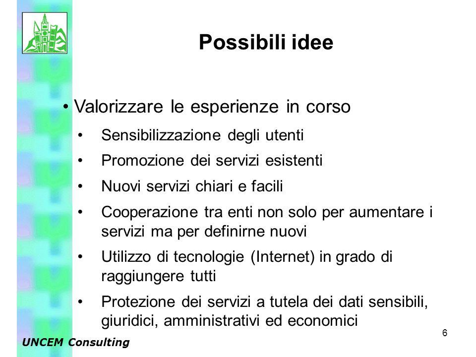 6 Valorizzare le esperienze in corso Sensibilizzazione degli utenti Promozione dei servizi esistenti Nuovi servizi chiari e facili Cooperazione tra en