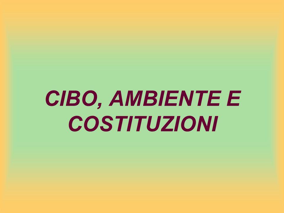 CIBO, AMBIENTE E COSTITUZIONI