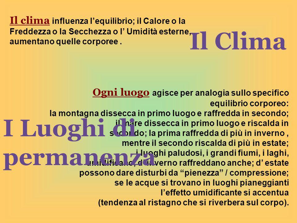 Il Clima Il clima influenza l'equilibrio; il Calore o la Freddezza o la Secchezza o l' Umidità esterne, aumentano quelle corporee.