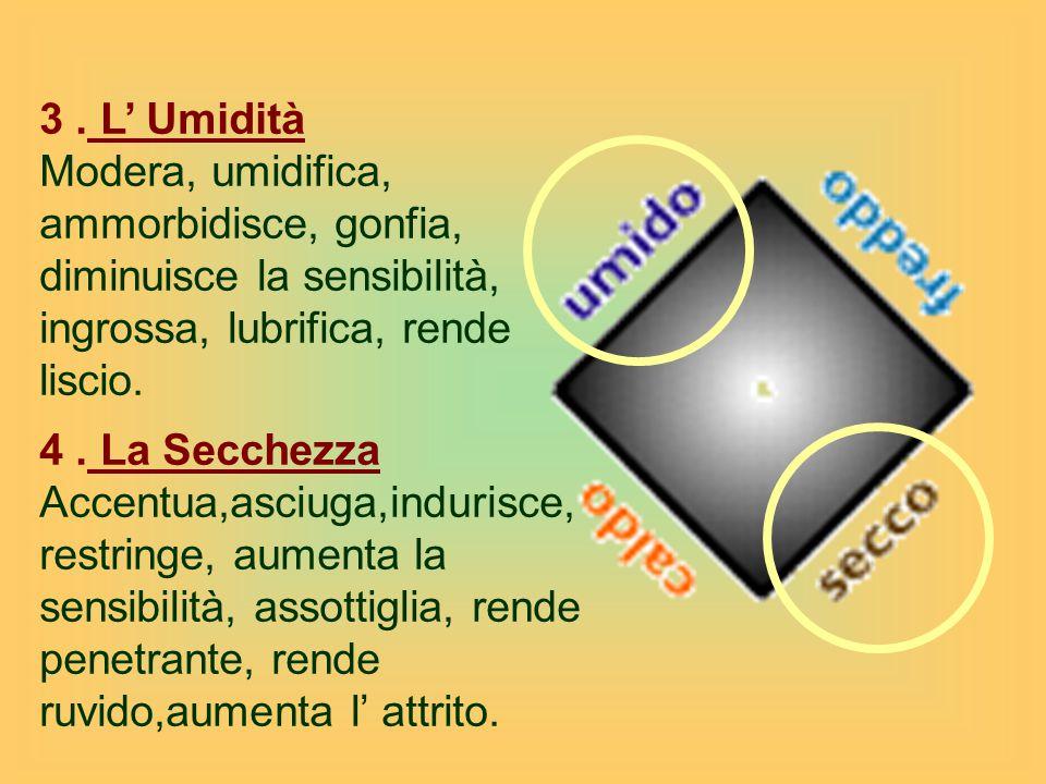 3. L' Umidità Modera, umidifica, ammorbidisce, gonfia, diminuisce la sensibilità, ingrossa, lubrifica, rende liscio. 4. La Secchezza Accentua,asciuga,