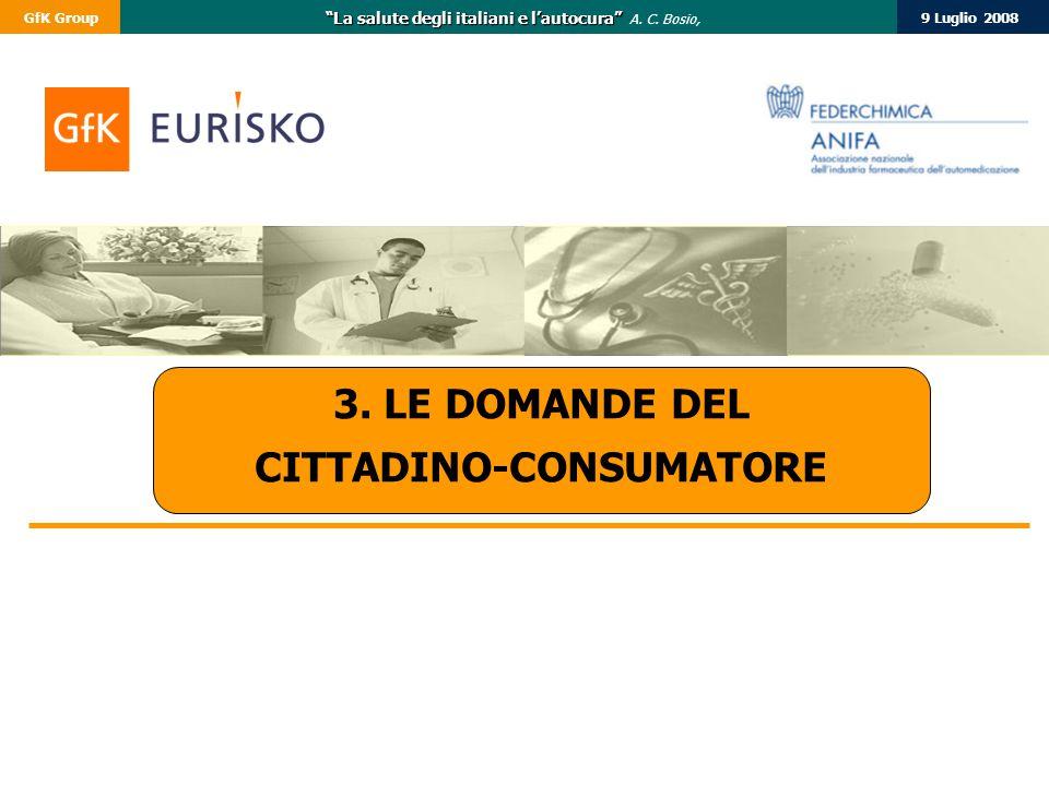"""9 Luglio 2008GfK Group """"La salute degli italiani e l'autocura"""" """"La salute degli italiani e l'autocura"""" A. C. Bosio, 3. LE DOMANDE DEL CITTADINO-CONSUM"""