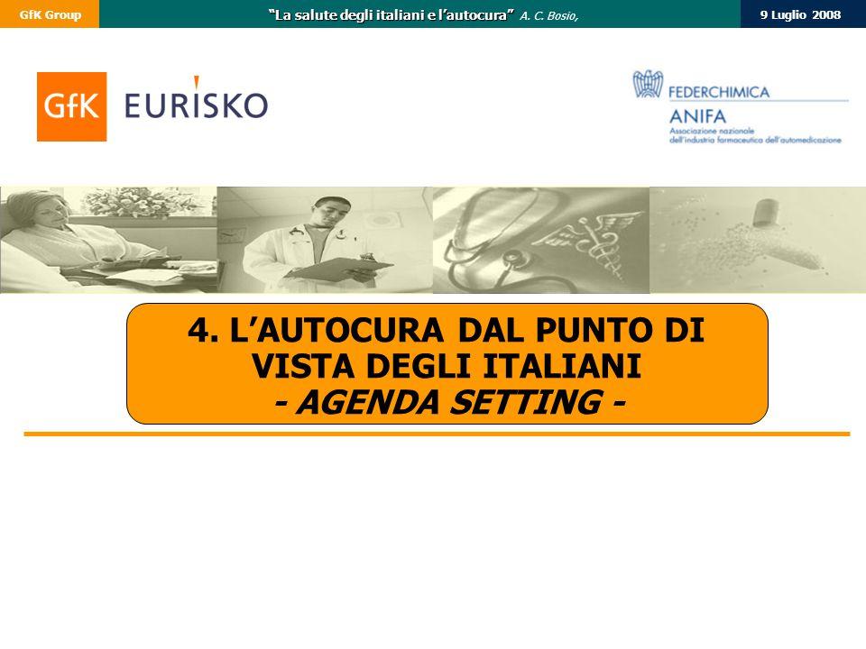"""9 Luglio 2008GfK Group """"La salute degli italiani e l'autocura"""" """"La salute degli italiani e l'autocura"""" A. C. Bosio, 4. L'AUTOCURA DAL PUNTO DI VISTA D"""