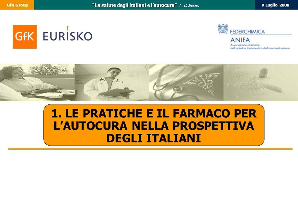 """9 Luglio 2008GfK Group """"La salute degli italiani e l'autocura"""" """"La salute degli italiani e l'autocura"""" A. C. Bosio, 1. LE PRATICHE E IL FARMACO PER L'"""
