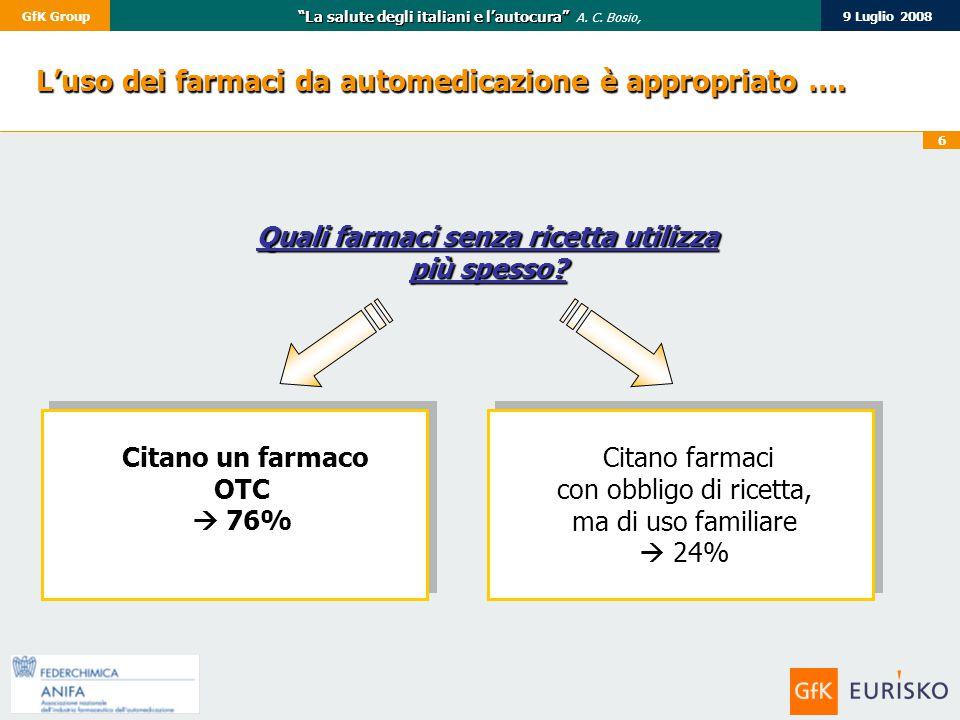 """6 9 Luglio 2008GfK Group """"La salute degli italiani e l'autocura"""" """"La salute degli italiani e l'autocura"""" A. C. Bosio, Citano un farmaco OTC  76% L'us"""