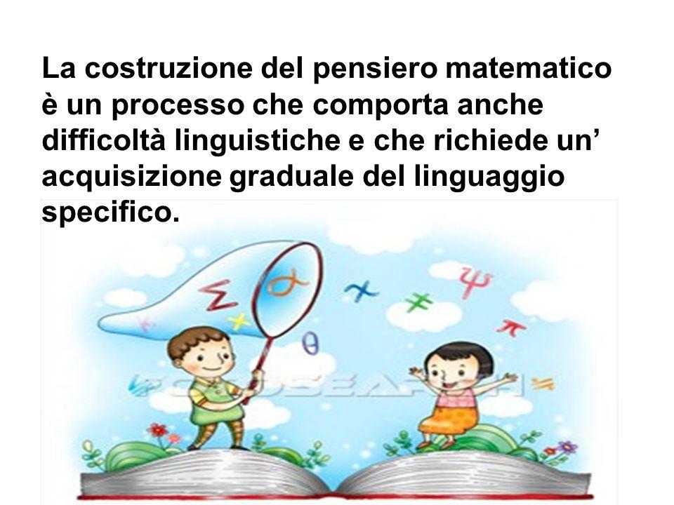 La costruzione del pensiero matematico è un processo che comporta anche difficoltà linguistiche e che richiede un' acquisizione graduale del linguaggi