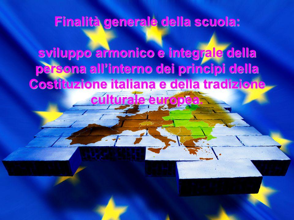 Finalità generale della scuola: sviluppo armonico e integrale della persona all'interno dei principi della Costituzione italiana e della tradizione cu