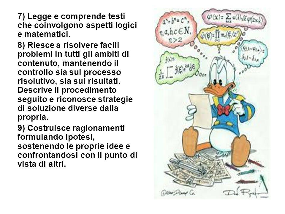 7) Legge e comprende testi che coinvolgono aspetti logici e matematici. 8) Riesce a risolvere facili problemi in tutti gli ambiti di contenuto, manten