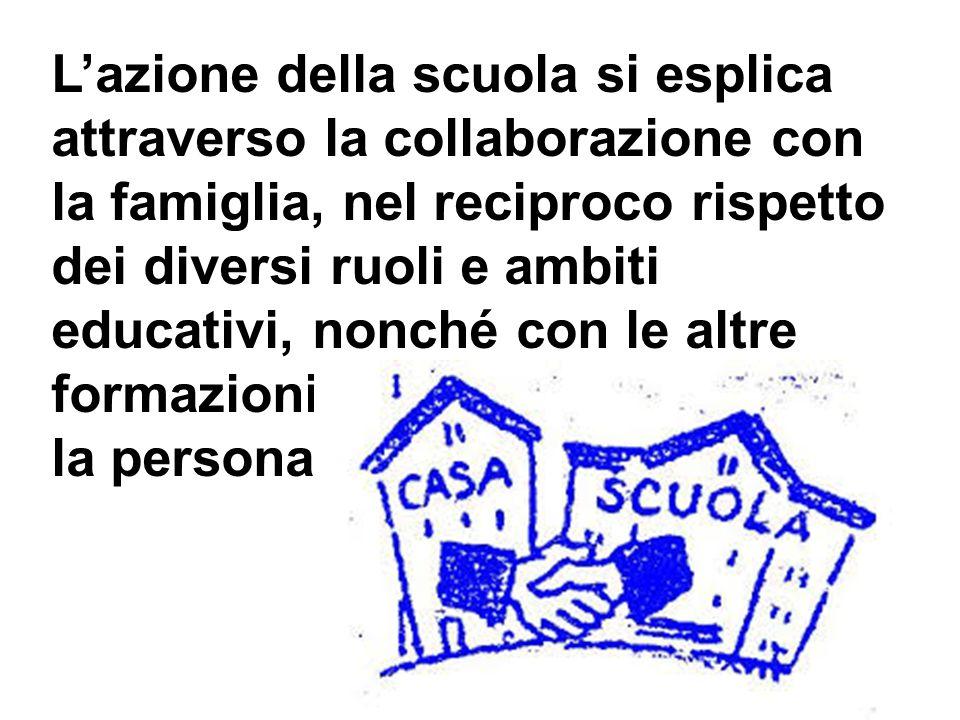 L'azione della scuola si esplica attraverso la collaborazione con la famiglia, nel reciproco rispetto dei diversi ruoli e ambiti educativi, nonché con