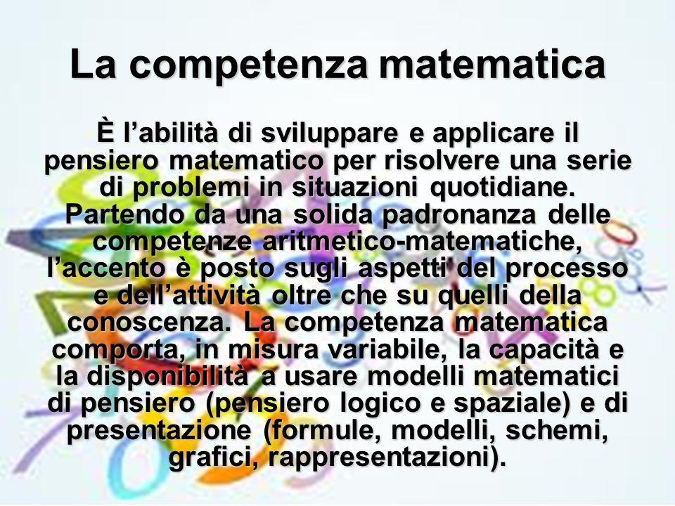 La competenza matematica È l'abilità di sviluppare e applicare il pensiero matematico per risolvere una serie di problemi in situazioni quotidiane. Pa