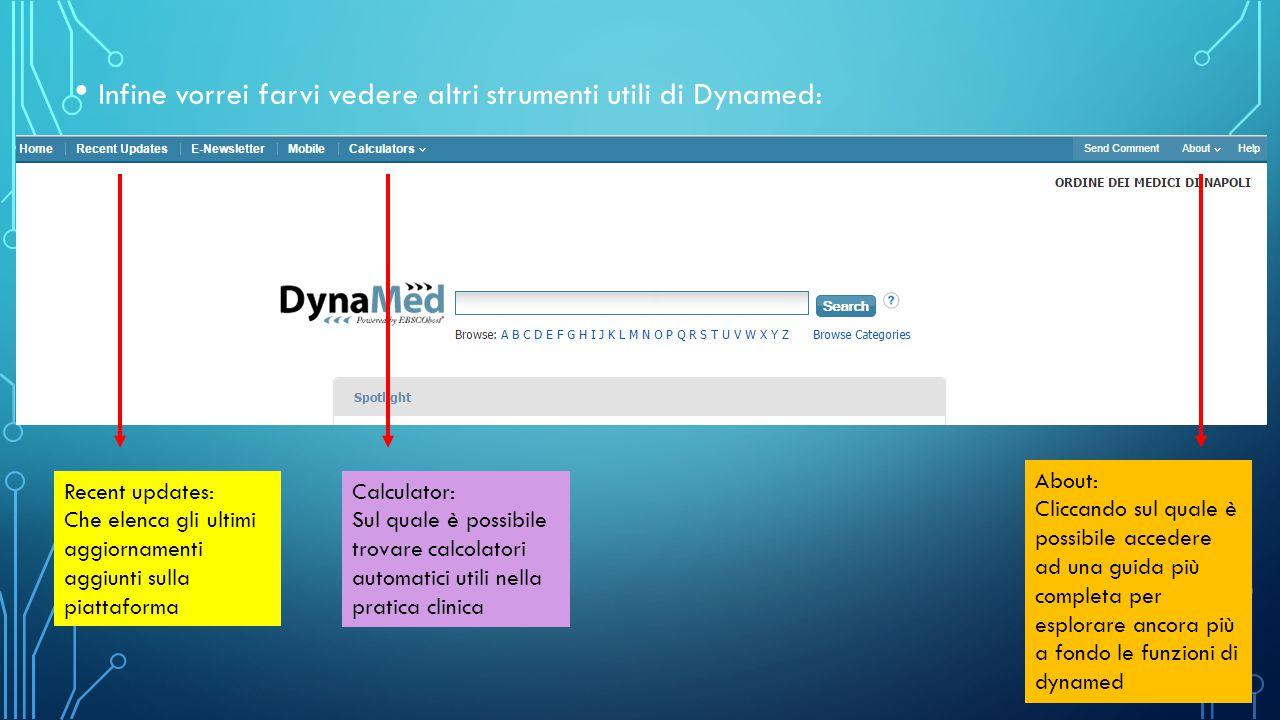 Infine vorrei farvi vedere altri strumenti utili di Dynamed: Recent updates: Che elenca gli ultimi aggiornamenti aggiunti sulla piattaforma Calculator