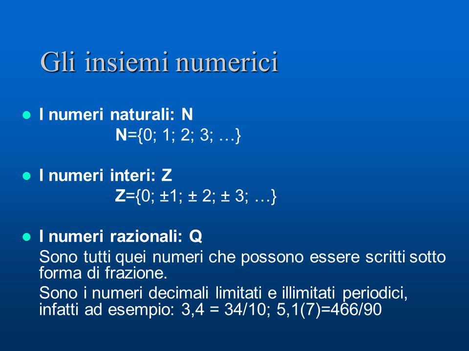I numeri reali e gli intervalli