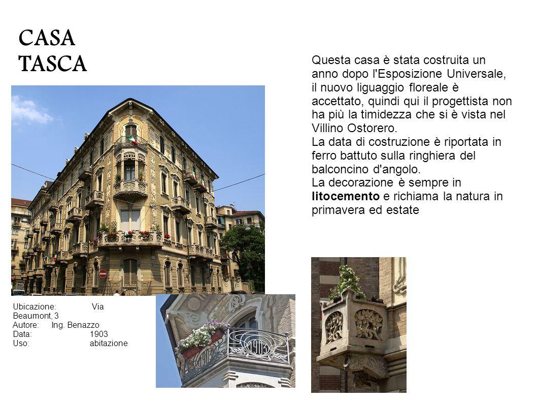 CASA MASINO O DELLE SFINGI Indirizzo:Via Piffetti 5 (I) e via Piffetti 7bis Progettisti:Giovanni Gribodo (I) e Pietro Fenoglio Anno:1908 (I) e 1900 ca.