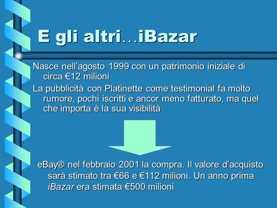 E gli altri … QXL Letteralmente quicksell , l'asta veloce , spende in Italia nel 2000 £10 miliardi in pubblicità tra cartoline, affissioni e pubblicità Pubblicizza prodotti di largo consumo, comperati da distributori normali e messi in vendita online.