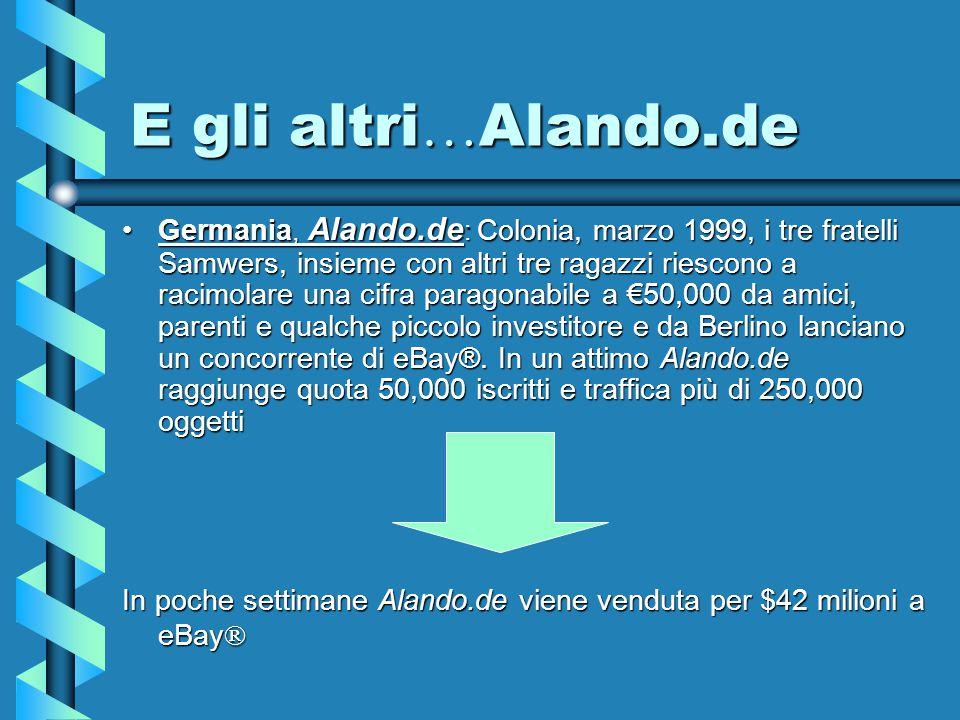 E gli altri … Alando.de Germania, Alando.de : Colonia, marzo 1999, i tre fratelli Samwers, insieme con altri tre ragazzi riescono a racimolare una cifra paragonabile a €50,000 da amici, parenti e qualche piccolo investitore e da Berlino lanciano un concorrente di eBay®.
