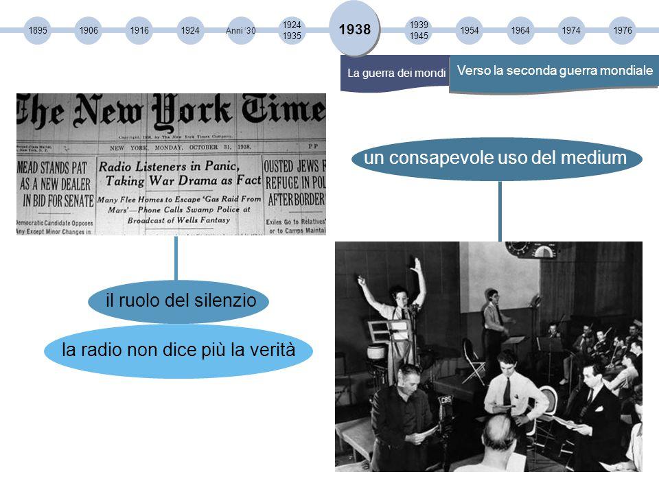 189519061916 1924 1935 1924 Anni '30 1939 1945 19541964 1938 Verso la seconda guerra mondiale La guerra dei mondi un consapevole uso del medium il ruolo del silenzio la radio non dice più la verità 19741976