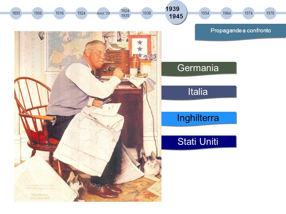 Italia Inghilterra Stati Uniti Germania 189519061916 1924 1935 1924 Anni '30 193819541964 1939 1945 Propagande a confronto 19741976