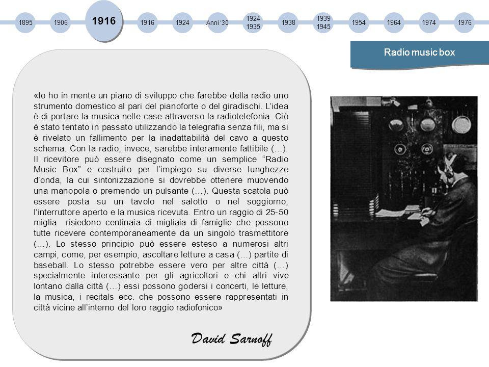 1895190619161938 Anni '30 1924 1935 1939 1945 19541964 1916 1924 Radio music box «Io ho in mente un piano di sviluppo che farebbe della radio uno strumento domestico al pari del pianoforte o del giradischi.