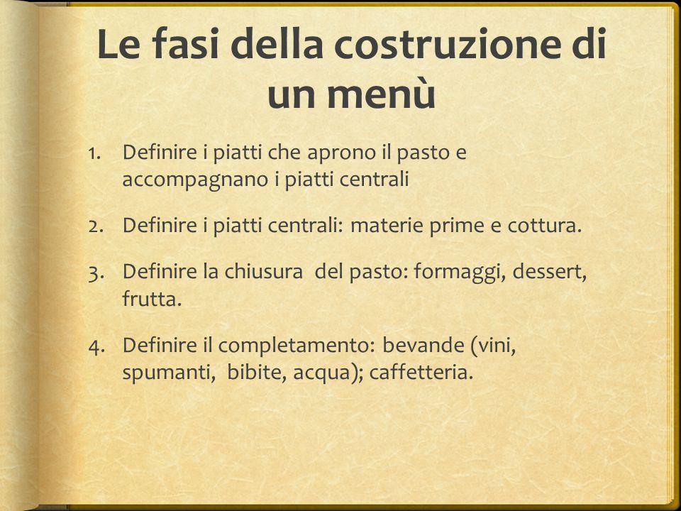 Le fasi della costruzione di un menù 1.Definire i piatti che aprono il pasto e accompagnano i piatti centrali 2.Definire i piatti centrali: materie pr