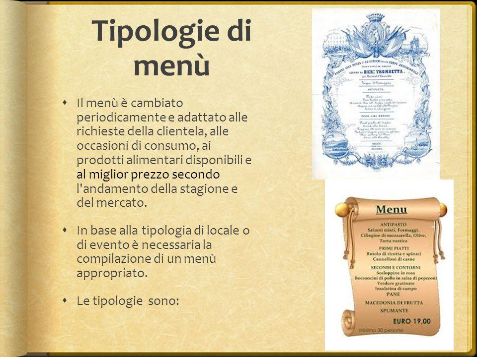 Tipologie di menù  Il menù è cambiato periodicamente e adattato alle richieste della clientela, alle occasioni di consumo, ai prodotti alimentari dis