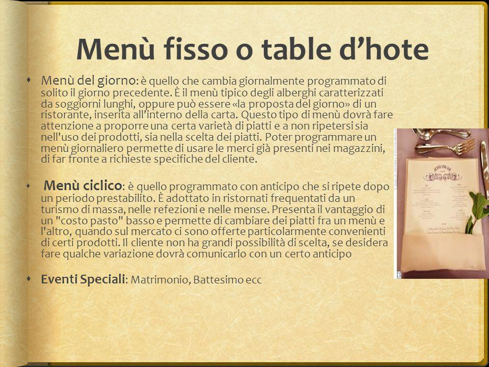 Menù fisso o table d'hote  Menù del giorno : è quello che cambia giornalmente programmato di solito il giorno precedente. È il menù tipico degli albe