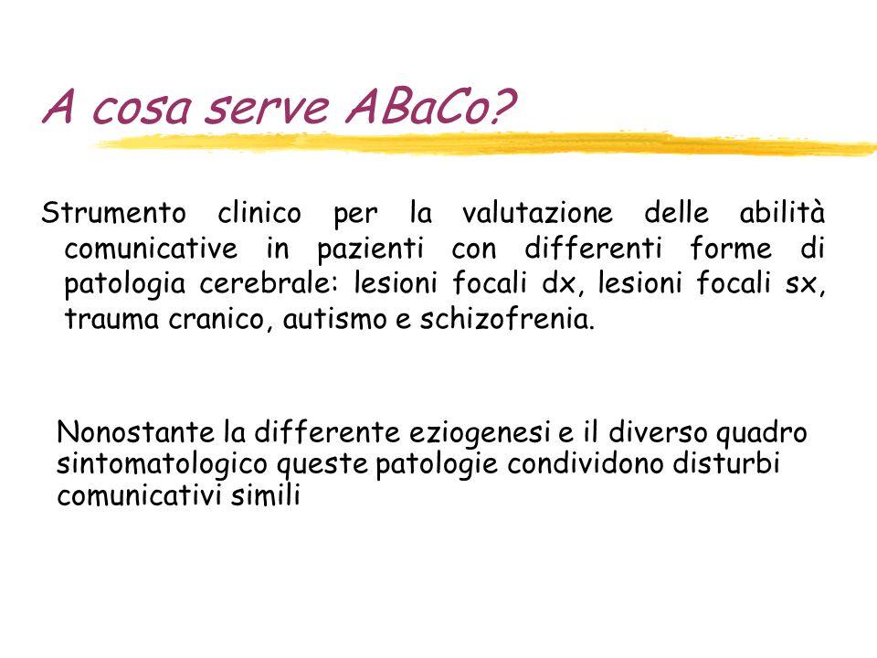 A cosa serve ABaCo? Strumento clinico per la valutazione delle abilità comunicative in pazienti con differenti forme di patologia cerebrale: lesioni f