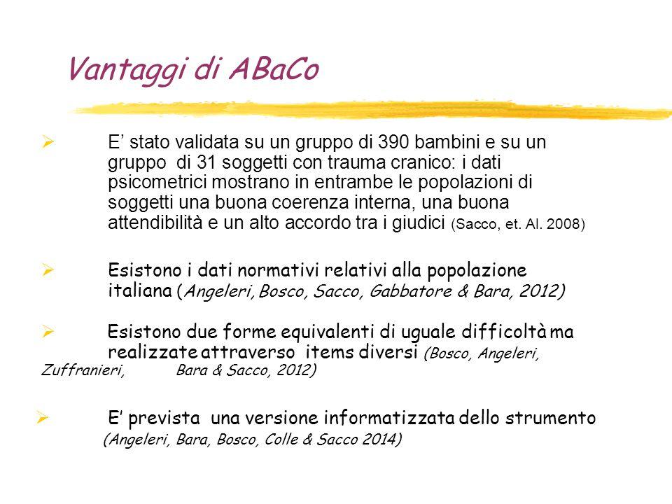 Vantaggi di ABaCo  E' stato validata su un gruppo di 390 bambini e su un gruppo di 31 soggetti con trauma cranico: i dati psicometrici mostrano in en