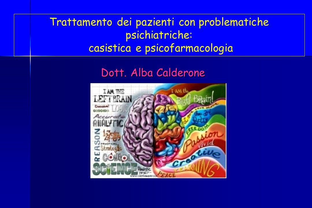 Dott. Alba Calderone Trattamento dei pazienti con problematiche psichiatriche: casistica e psicofarmacologia