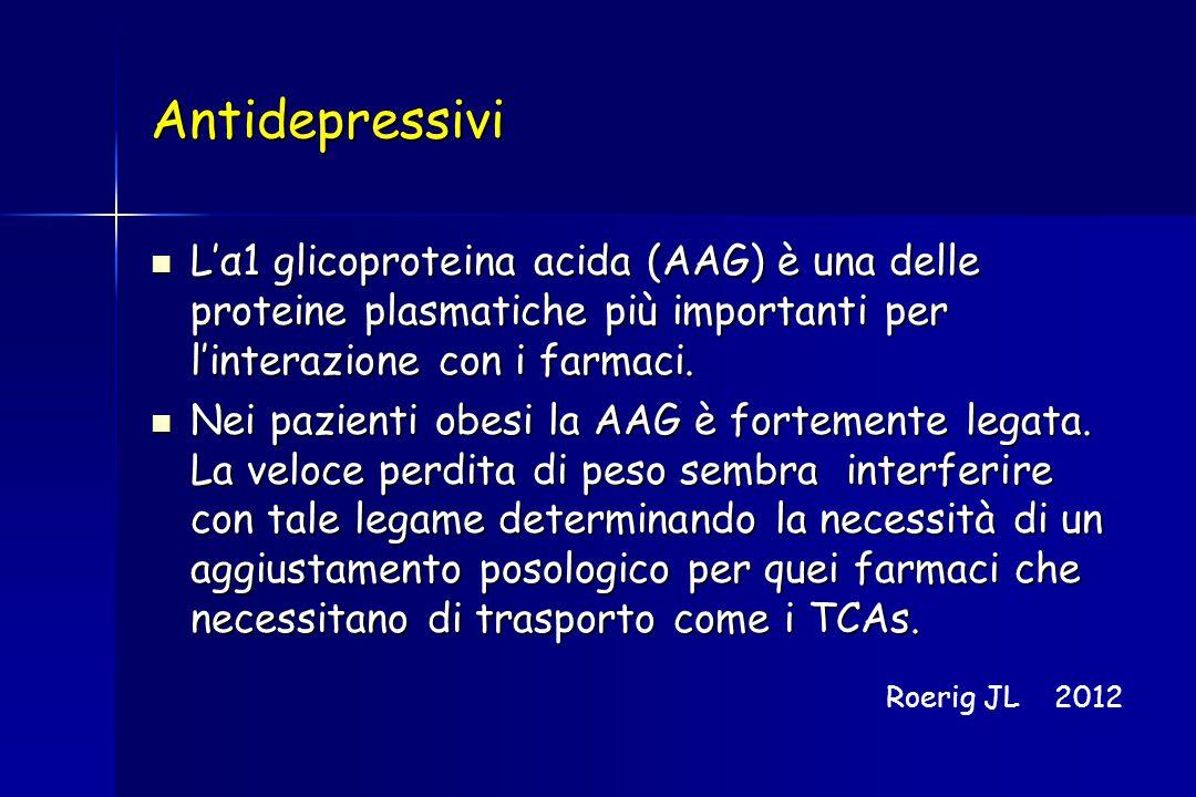 Antidepressivi L'α1 glicoproteina acida (AAG) è una delle proteine plasmatiche più importanti per l'interazione con i farmaci. L'α1 glicoproteina acid