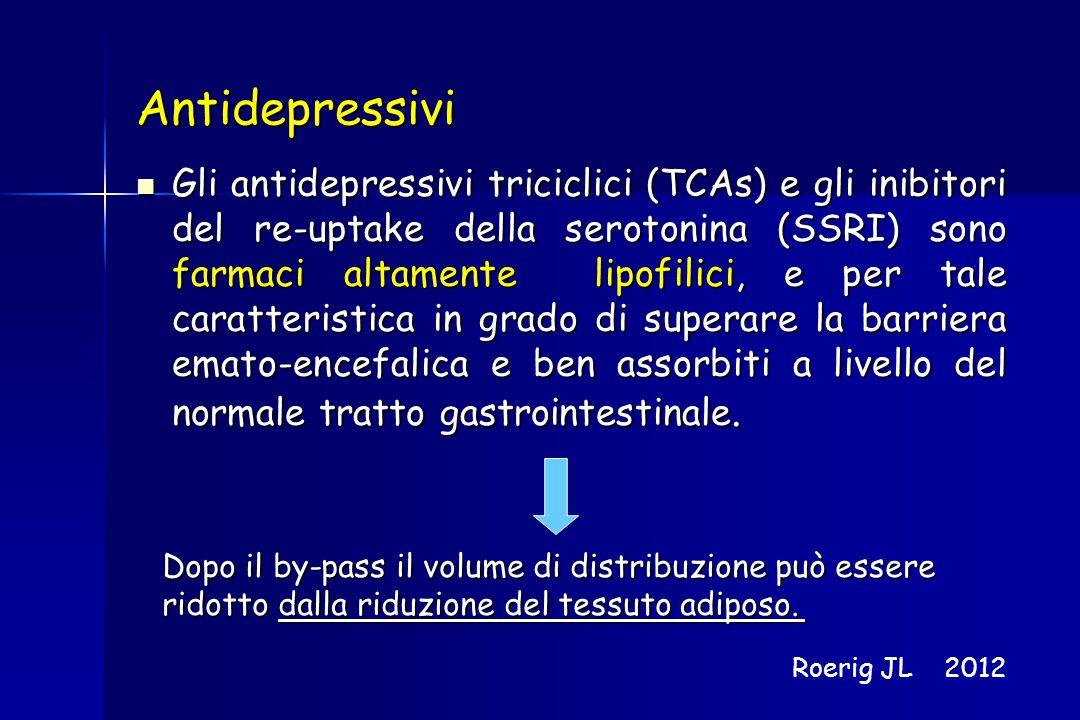 Antidepressivi Gli antidepressivi triciclici (TCAs) e gli inibitori del re-uptake della serotonina (SSRI) sono farmaci altamente lipofilici, e per tal