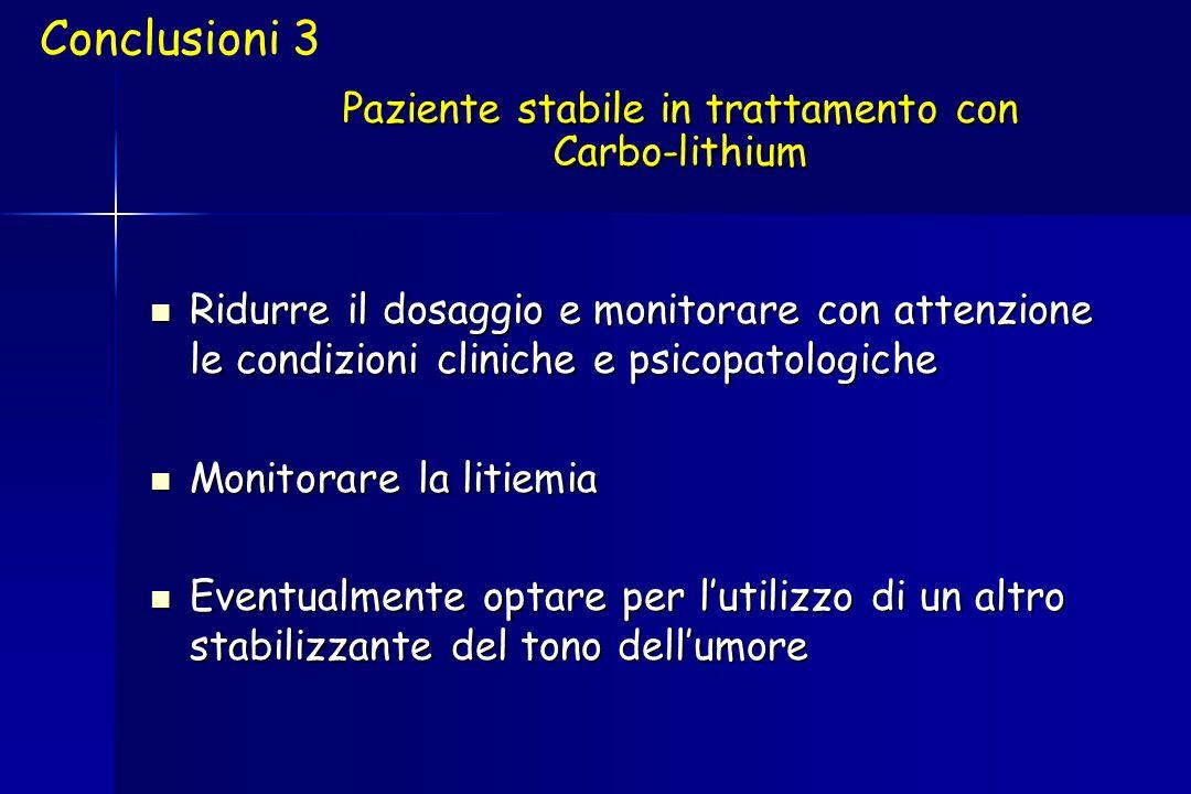 Paziente stabile in trattamento con Carbo-lithium Ridurre il dosaggio e monitorare con attenzione le condizioni cliniche e psicopatologiche Ridurre il