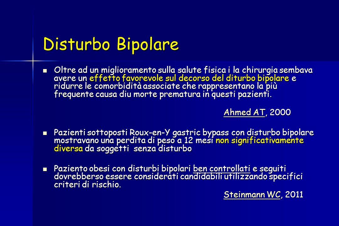 Disturbo Bipolare Oltre ad un miglioramento sulla salute fisica i la chirurgia sembava avere un effetto favorevole sul decorso del diturbo bipolare e