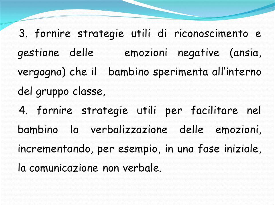 3. fornire strategie utili di riconoscimento e gestione delle emozioni negative (ansia, vergogna) che il bambino sperimenta all'interno del gruppo cla