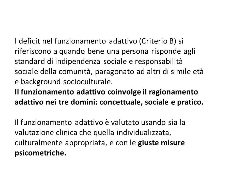 I deficit nel funzionamento adattivo (Criterio B) si riferiscono a quando bene una persona risponde agli standard di indipendenza sociale e responsabi