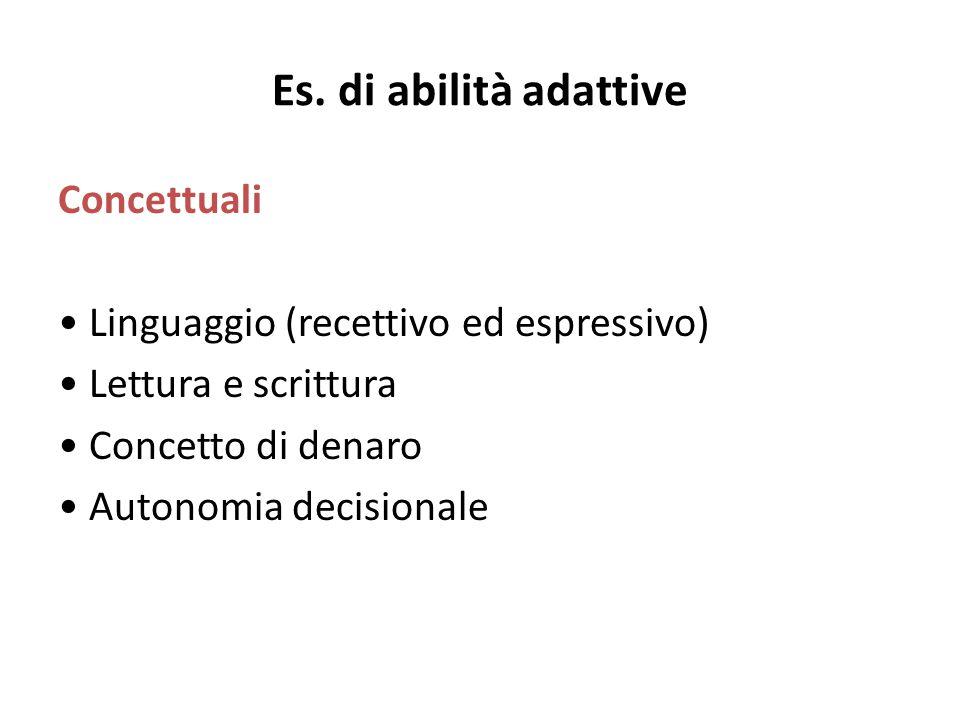 Es. di abilità adattive Concettuali Linguaggio (recettivo ed espressivo) Lettura e scrittura Concetto di denaro Autonomia decisionale