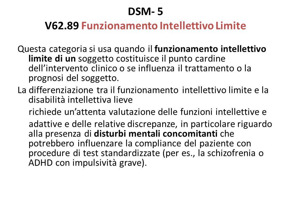 DSM- 5 V62.89 Funzionamento Intellettivo Limite Questa categoria si usa quando il funzionamento intellettivo limite di un soggetto costituisce il punt