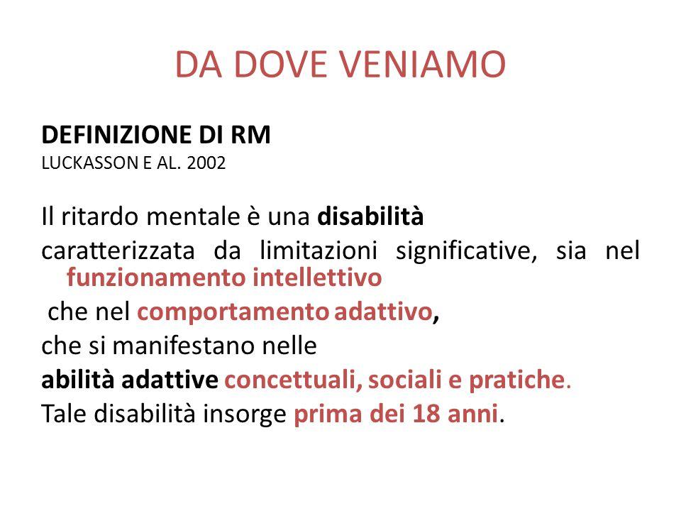 DA DOVE VENIAMO DEFINIZIONE DI RM LUCKASSON E AL. 2002 Il ritardo mentale è una disabilità caratterizzata da limitazioni significative, sia nel funzio