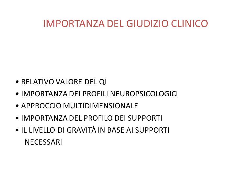 IMPORTANZA DEL GIUDIZIO CLINICO RELATIVO VALORE DEL QI IMPORTANZA DEI PROFILI NEUROPSICOLOGICI APPROCCIO MULTIDIMENSIONALE IMPORTANZA DEL PROFILO DEI