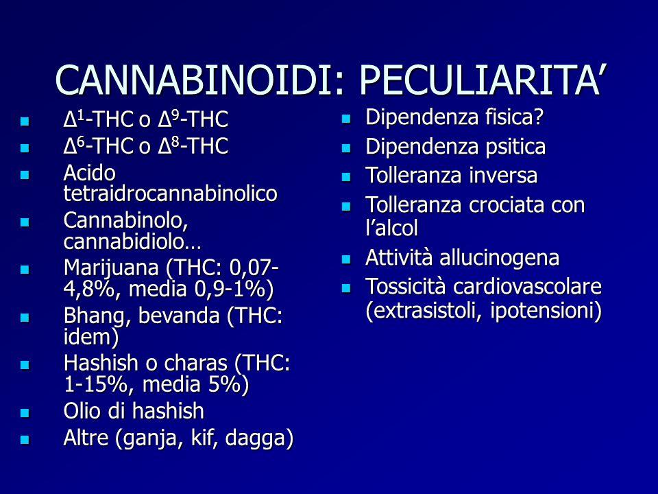 CANNABINOIDI: PECULIARITA' Δ 1 -THC o Δ 9 -THC Δ 1 -THC o Δ 9 -THC Δ 6 -THC o Δ 8 -THC Δ 6 -THC o Δ 8 -THC Acido tetraidrocannabinolico Acido tetraidr