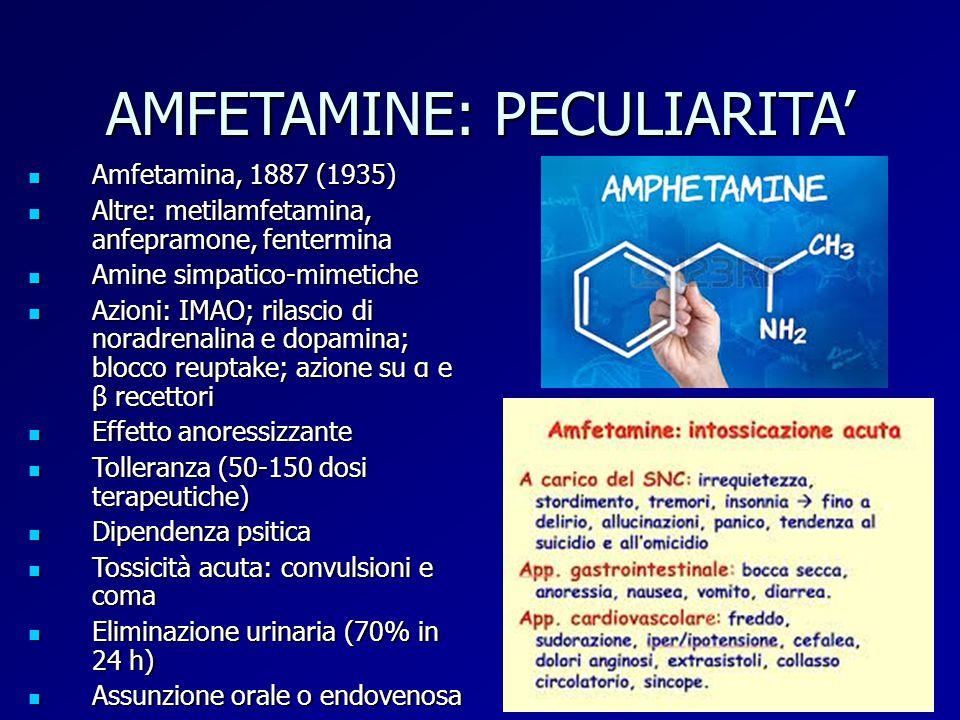 AMFETAMINE: PECULIARITA' Amfetamina, 1887 (1935) Amfetamina, 1887 (1935) Altre: metilamfetamina, anfepramone, fentermina Altre: metilamfetamina, anfep