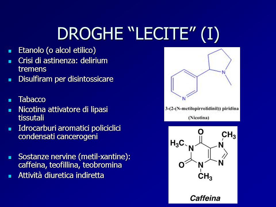 """DROGHE """"LECITE"""" (I) Etanolo (o alcol etilico) Etanolo (o alcol etilico) Crisi di astinenza: delirium tremens Crisi di astinenza: delirium tremens Disu"""