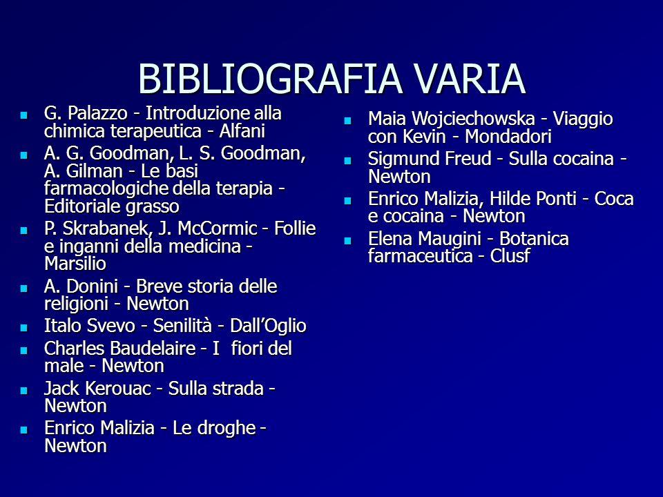 BIBLIOGRAFIA VARIA G. Palazzo - Introduzione alla chimica terapeutica - Alfani G. Palazzo - Introduzione alla chimica terapeutica - Alfani A. G. Goodm