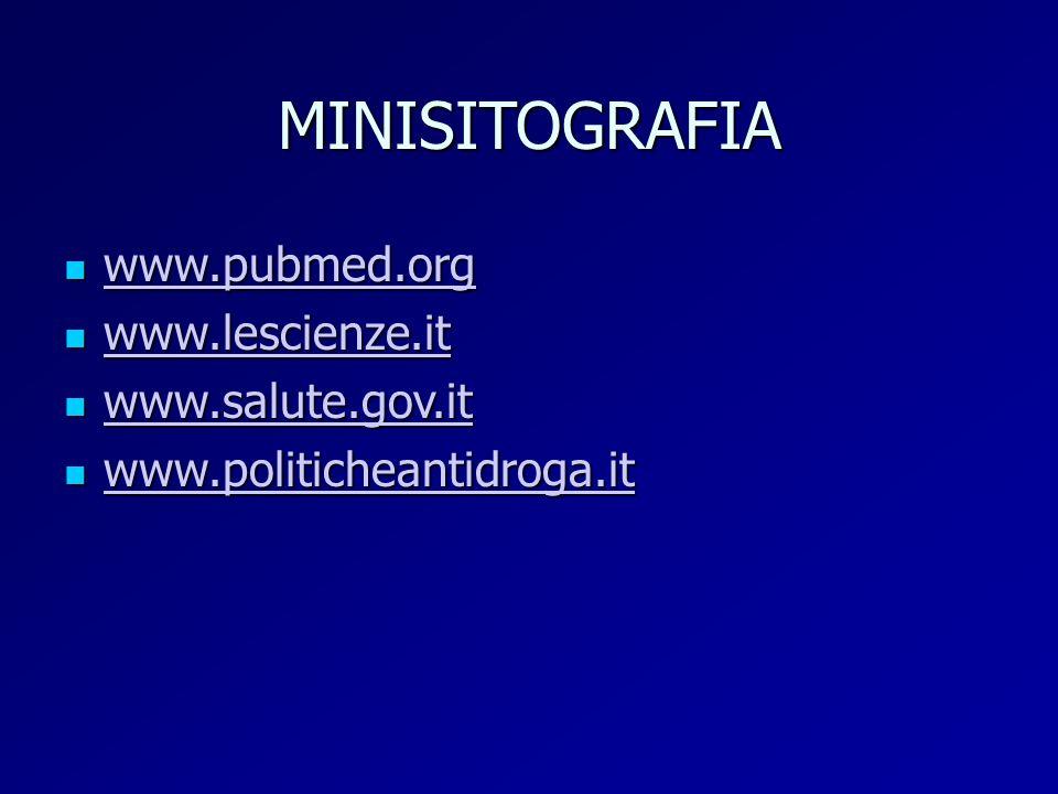 MINISITOGRAFIA www.pubmed.org www.pubmed.org www.pubmed.org www.lescienze.it www.lescienze.it www.lescienze.it www.salute.gov.it www.salute.gov.it www