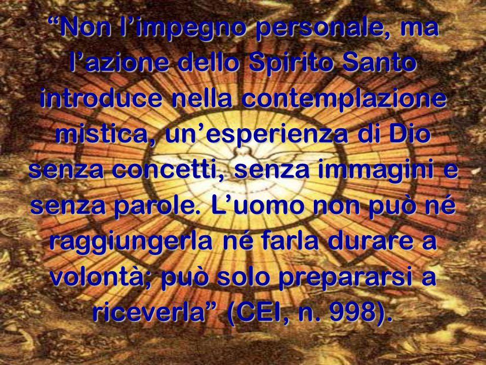 """""""Non l'impegno personale, ma l'azione dello Spirito Santo introduce nella contemplazione mistica, un'esperienza di Dio senza concetti, senza immagini"""