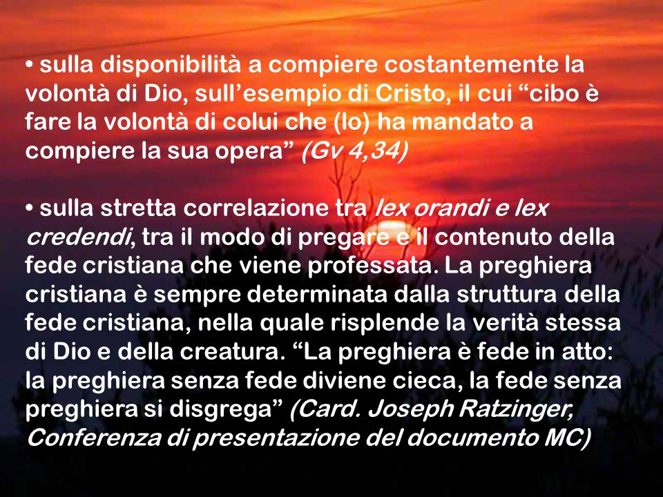 sulla disponibilità a compiere costantemente la volontà di Dio, sull'esempio di Cristo, il cui cibo è fare la volontà di colui che (lo) ha mandato a compiere la sua opera (Gv 4,34) sulla stretta correlazione tra lex orandi e lex credendi, tra il modo di pregare e il contenuto della fede cristiana che viene professata.