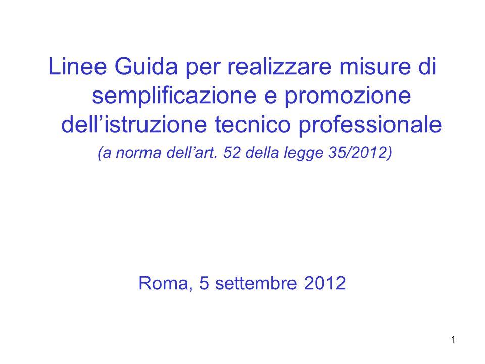 1 Linee Guida per realizzare misure di semplificazione e promozione dell'istruzione tecnico professionale (a norma dell'art.