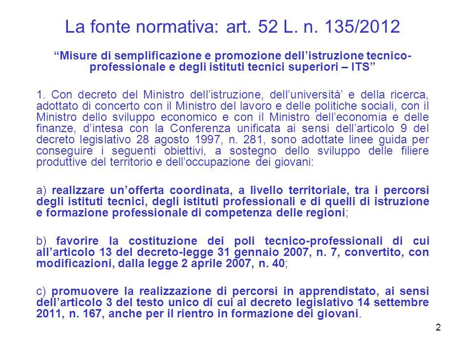 2 La fonte normativa: art. 52 L. n.