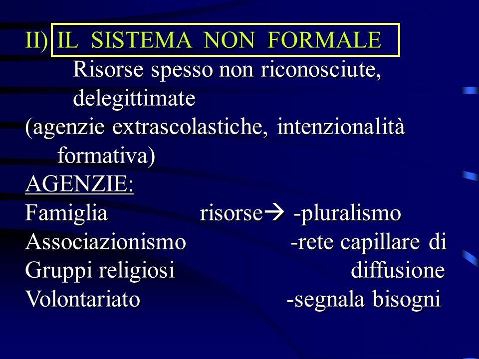II)IL SISTEMA NON FORMALE Risorse spesso non riconosciute, delegittimate (agenzie extrascolastiche, intenzionalità formativa) AGENZIE: Famiglia risors